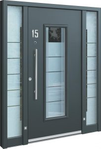 Aluminium Haustür mit Seitenteil