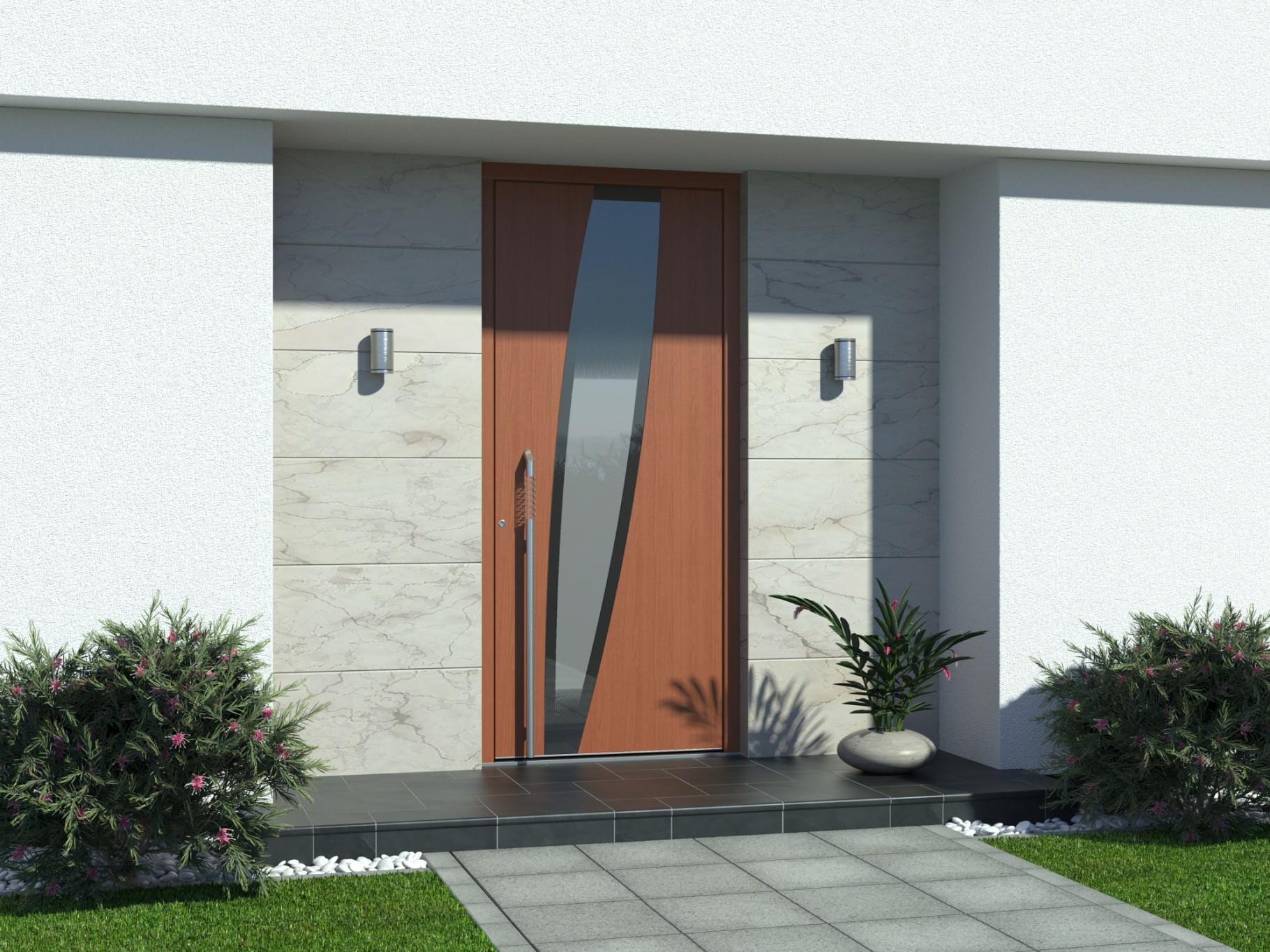 Vhodna vrata iz lesa in aluminija